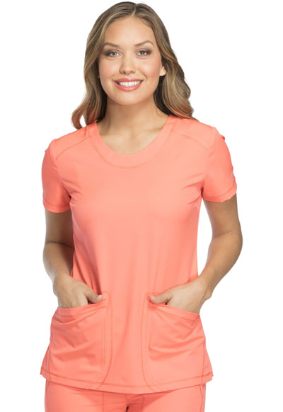 Dynamix Women's Rounded V-Neck Top Orange