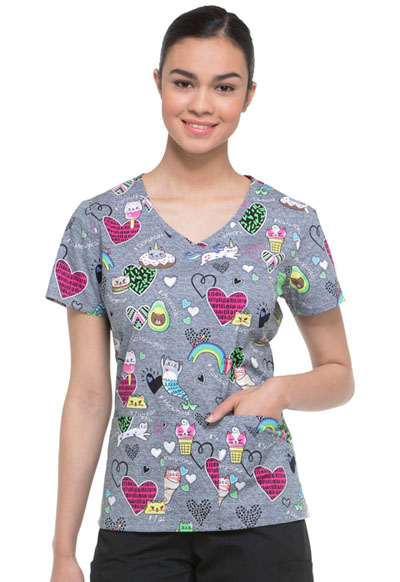 Dickies Prints Women's V-Neck Top So Meowgical