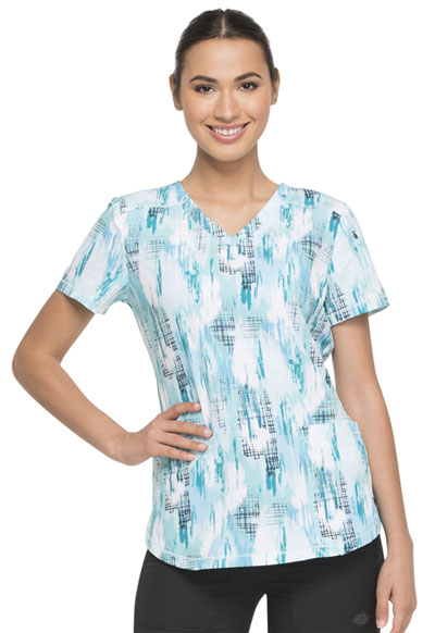 Dickies Dynamix Women V-Neck Top Washed Up Tropical Oasis