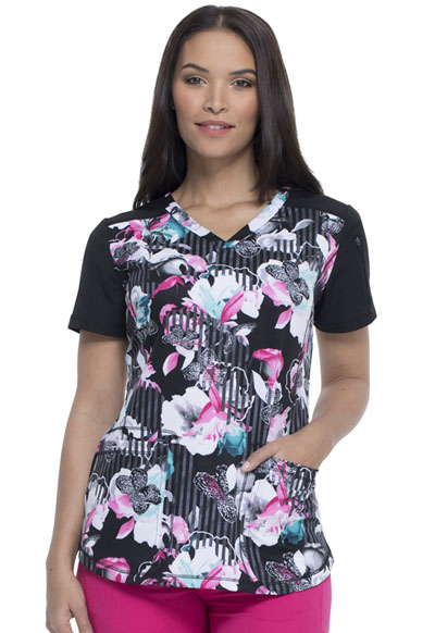 Dickies Dynamix Women's V-Neck Top Midnight Tropics