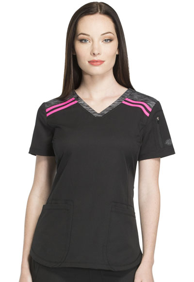 Dynamix Women's V-Neck Top Black