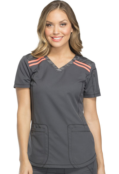 Dickies Dynamix Women's V-Neck Top Gray