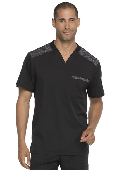 Dynamix Men's Men's Melange Contrast V-Neck Top Black