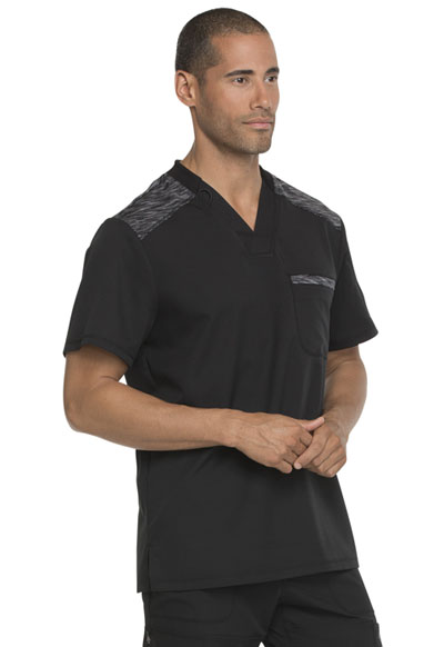58bc41ae352 Photograph of Dickies Dynamix Men's Melange Contrast V-Neck Top in Black