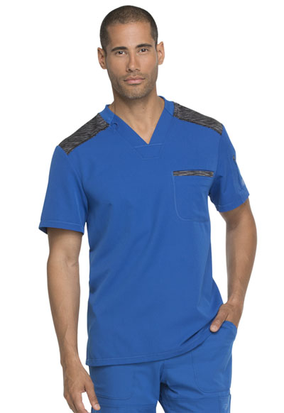 Dynamix Men's Men's Melange Contrast V-Neck Top Blue