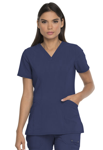 Advance Women V-Neck Top With Patch Pockets Blue