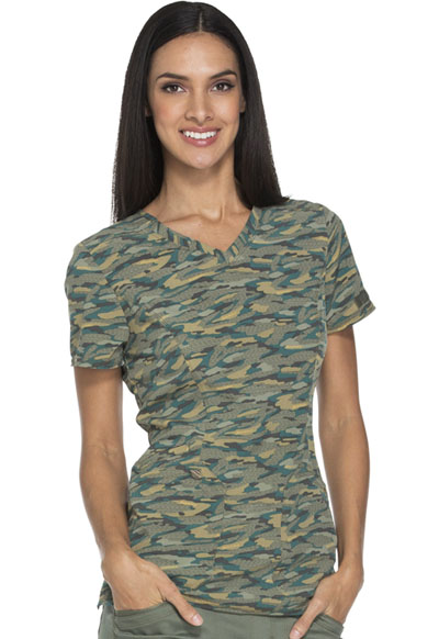 Dickies Prints Women's V-Neck Top Get Back in Line Olive