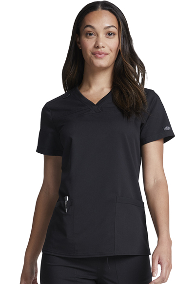 Dickies Balance Women's V-Neck Top With Rib Knit Panels Black