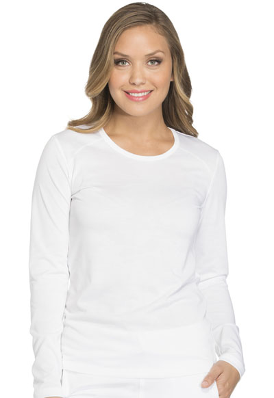 Dickies Dynamix Women's Long Sleeve Underscrub Knit Tee White