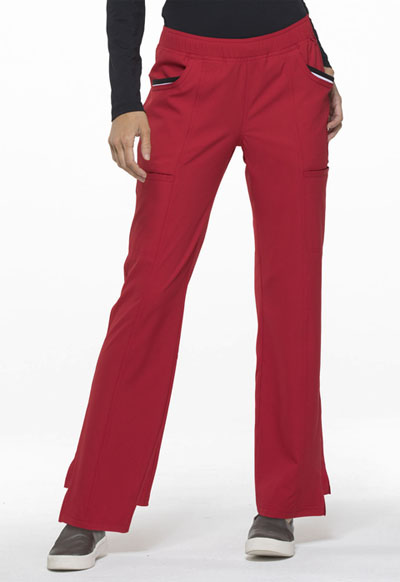 Elle Simply Polished Women's Mid Rise Tapered Leg Drawstring Pant Red