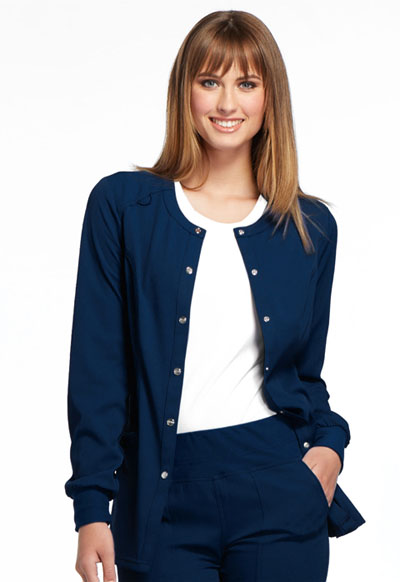 Simply Polished Women's Snap Front Warm-up Jacket Blue