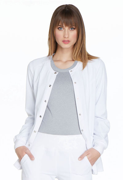 Simply Polished Women Snap Front Warm-up Jacket White