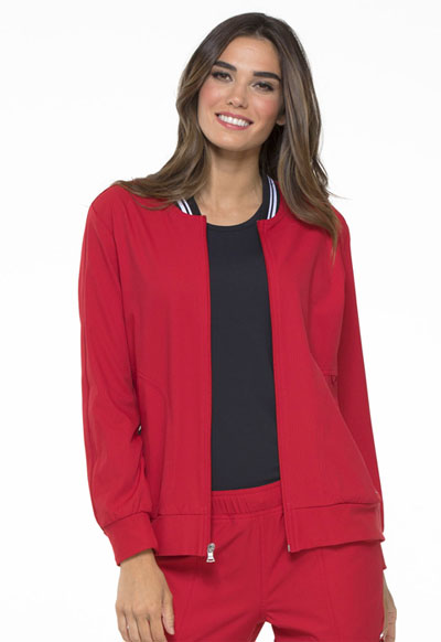 Simply Polished Women Bomber Jacket Red