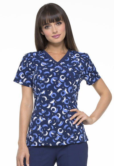 Prints a La Mode Women Mock Wrap Top Brush Stroke of Genius Navy