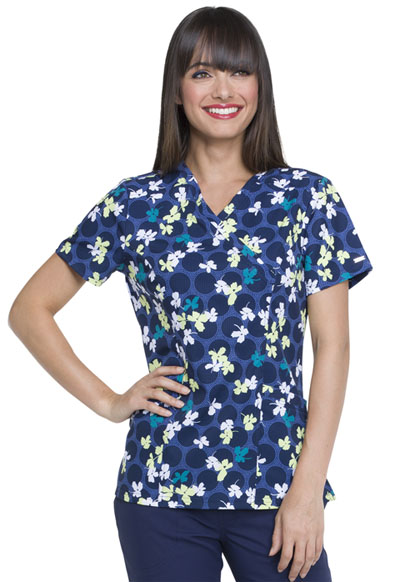 Prints a La Mode Women Mock Wrap Top Falling Posies Navy