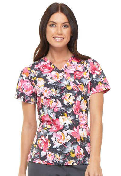 Prints a La Mode Women's Mock Wrap Top Rose to The Occasion Pewter