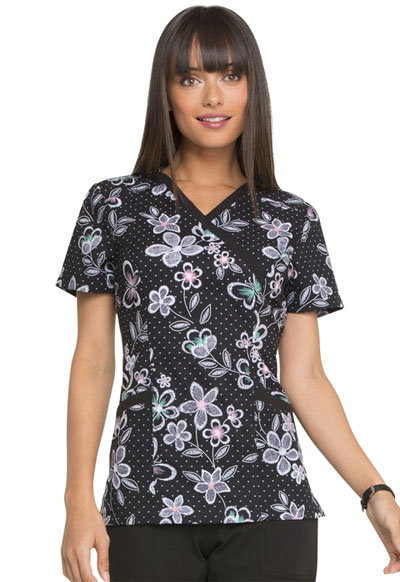 Prints a La Mode Women's Mock Wrap Top Wings In Bloom Black