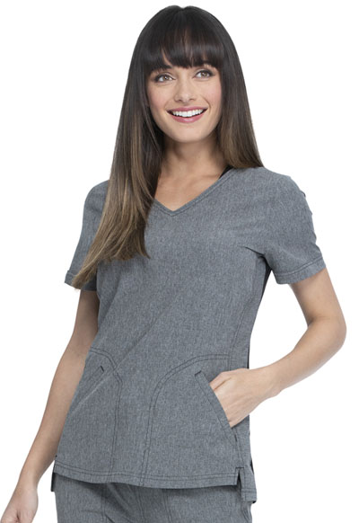 Simply Polished Women V-Neck Top Gray