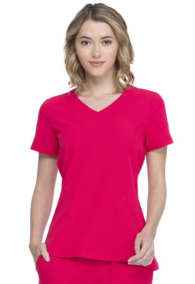 Simply Polished Women V-Neck Top Red