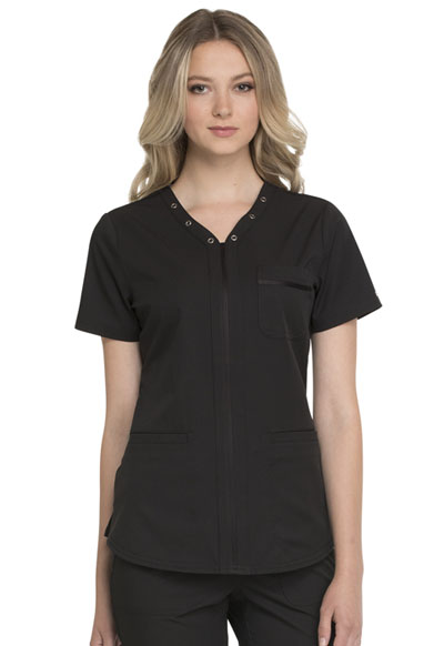 Simply Polished Women's Eyelet V-Neck Top Black