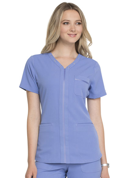 Simply Polished Women's Eyelet V-Neck Top Blue
