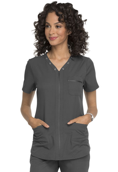 Simply Polished Women Eyelet V-Neck Top Gray