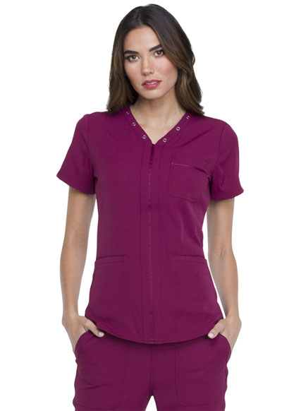 Simply Polished Women's Eyelet V-Neck Top Red