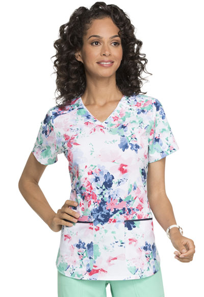 Prints a La Mode Women's V-Neck Top Delicate Petals