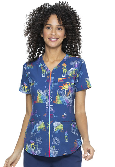 Prints a La Mode Women V-Neck Top Bonjour Paris