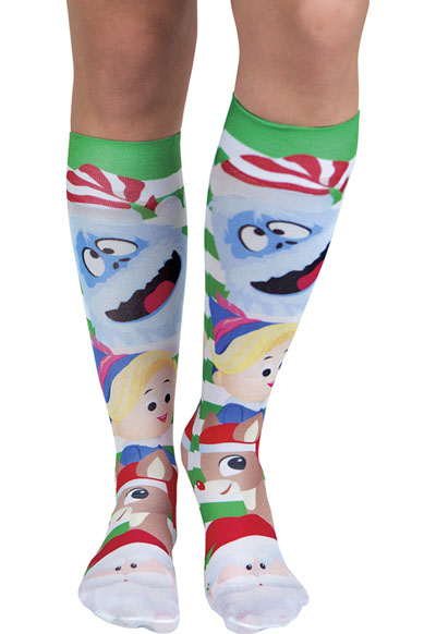 Cherokee Women's Knee Highs 12 mmHg Compression Rudolph Face Off