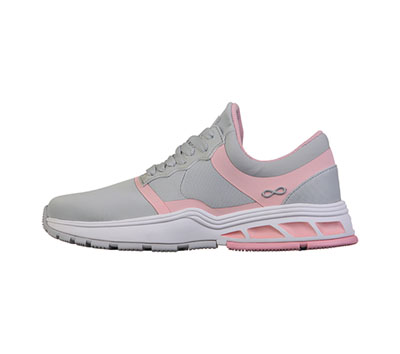 Infinity Footwear Shoes Women's FLY LIght Grey with Power Pink