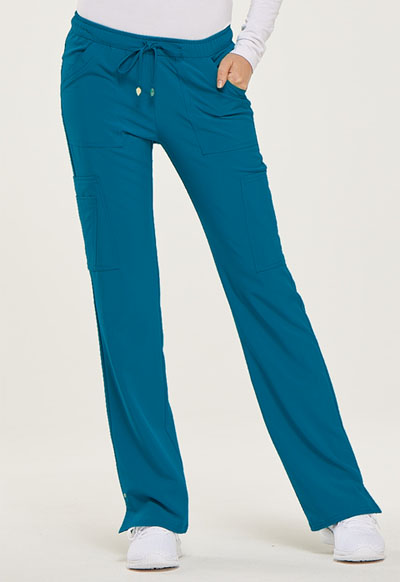 """Charmed"" Low Rise Drawstring Pant in Caribbean Blue"