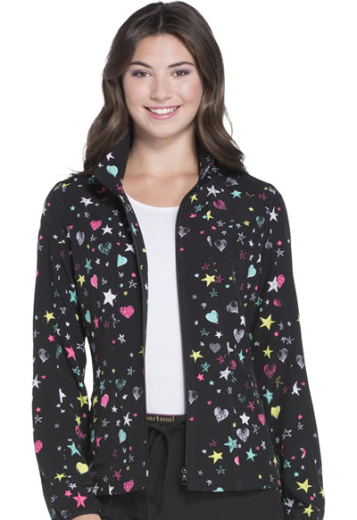 HeartSoul Prints Women's U Da Bom Zip Front Jacket All Star Love