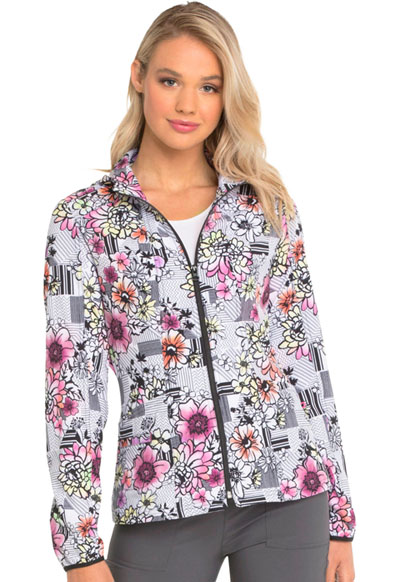 HeartSoul Prints Women's Zip Front Jacket Patterns And Posies