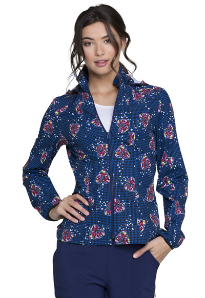 HeartSoul Prints Women's Zip Front Jacket Tropical Love