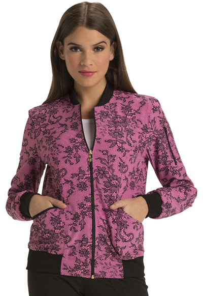 HeartSoul Prints Women's Zip Front Bomber Jacket Ace Of Lace