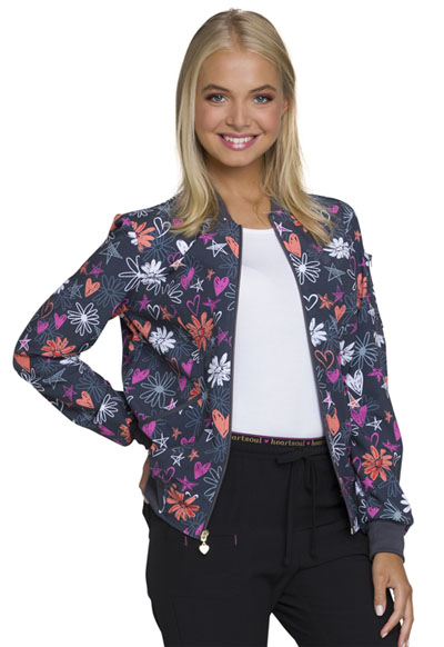 HeartSoul Prints Women's Zip Front Bomber Jacket Love U For Daisies