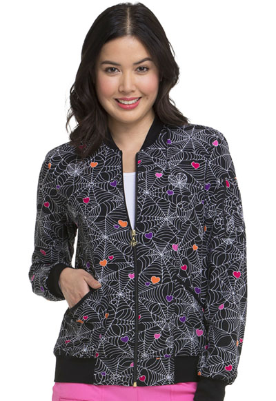 HeartSoul Prints Women's Zip Front Bomber Jacket Wicked Cute