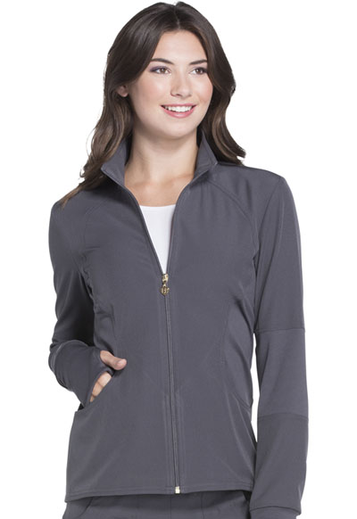 Zip Front Warm-up Jacket in Pewter