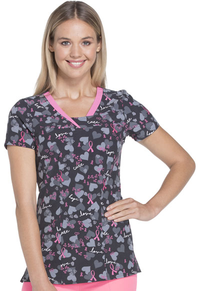HeartSoul Prints Women's V-Neck Top Love Is All Around Us