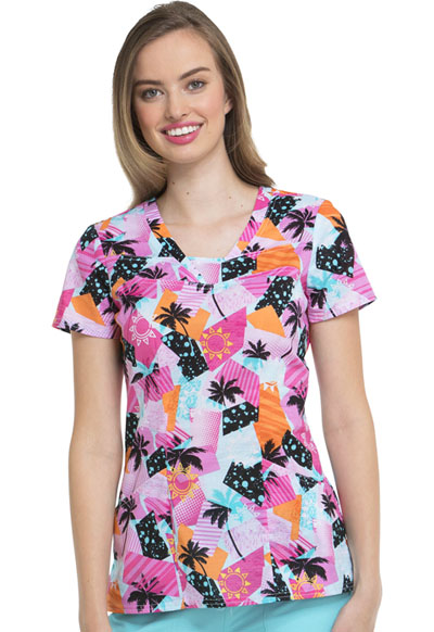 HeartSoul Prints Women's V-Neck Top Beach Vibes