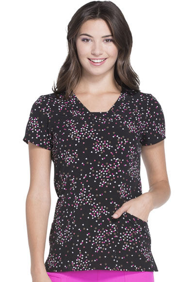 HeartSoul Prints Women's V-Neck Top Cosmic Love