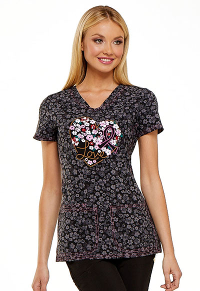 HeartSoul Prints Women's V-Neck Top Floral Ever In My Heart