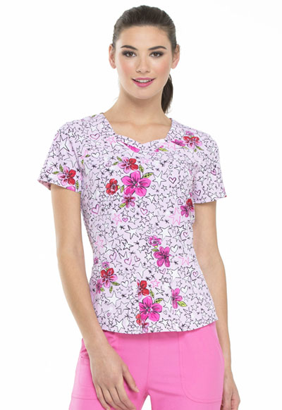 HeartSoul Prints Women's Sweetheart Neck Top Reaching For The Stars