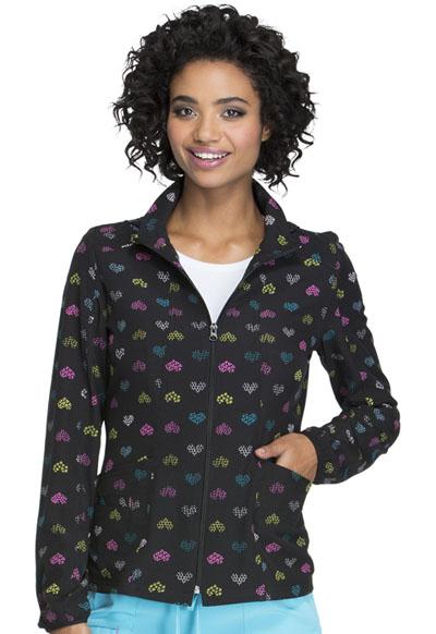 HeartSoul Prints Women's Zip Front Warm-up Jacket A Work Of Heart