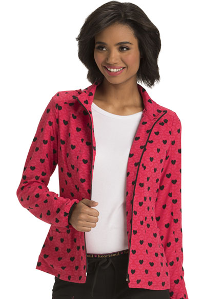 HeartSoul Prints Women's Zip Front Warm-up Jacket Kiss and Tell