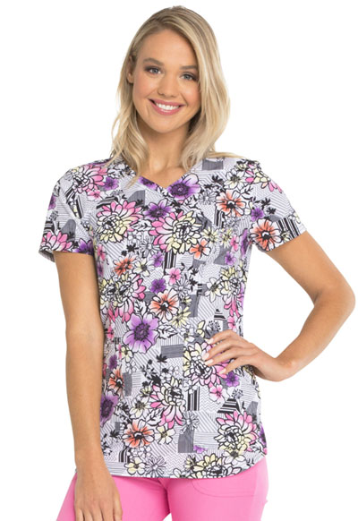 HeartSoul Prints Women's Mock Wrap Top Patterns And Posies