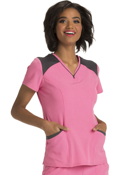Break on Through by HeartSoul Women's Heart Zips A Beat V-Neck Top Pink