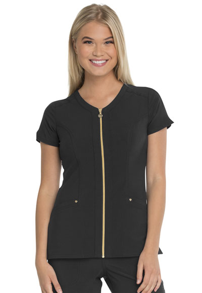 """Amorous"" Zip Front V-Neck Top in Black"