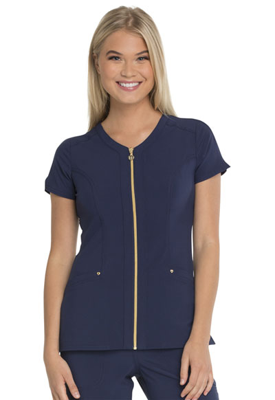 """Amorous"" Zip Front V-Neck Top in Navy"